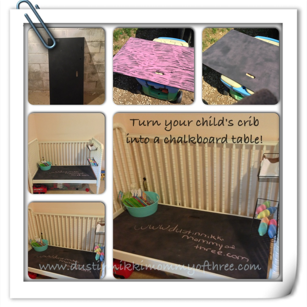 turn your child s crib into a chalkboard table diy dustinnikki mommy of three. Black Bedroom Furniture Sets. Home Design Ideas