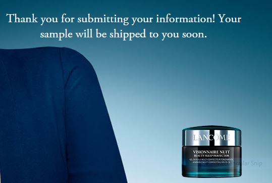 Free Sample of Lancome Visionnaire Nuit Beauty Sleep Perfector ...
