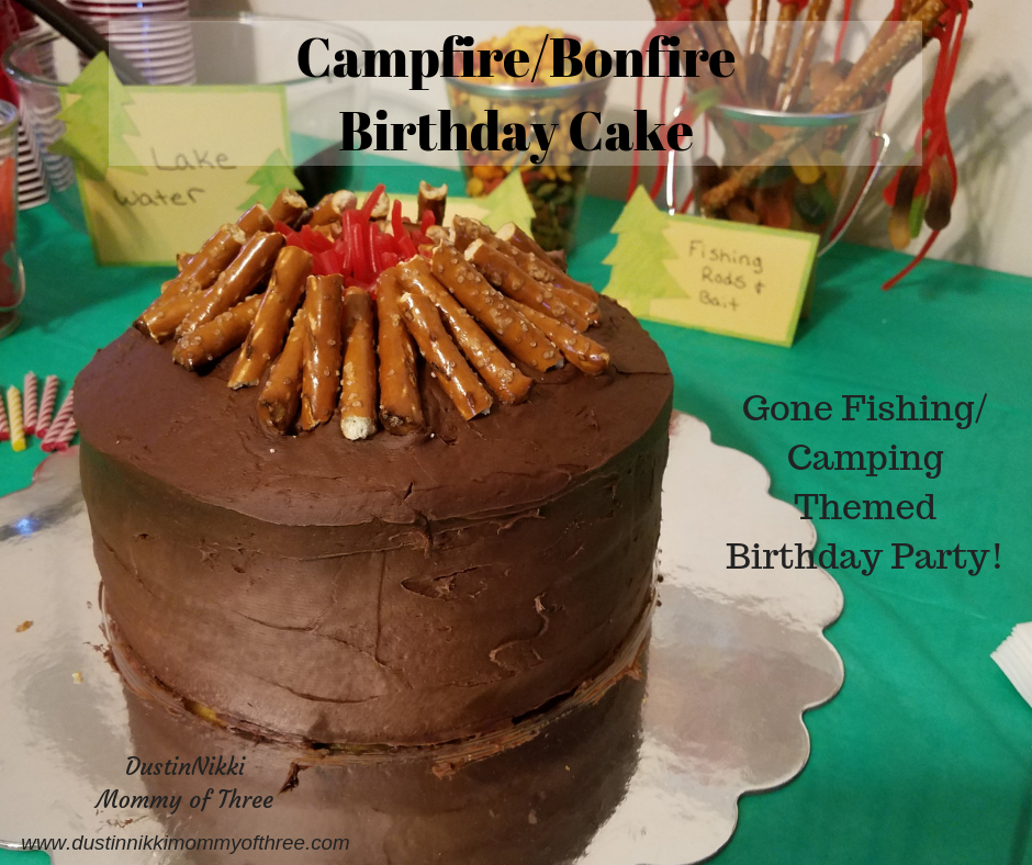 Campfire Bonfire Cake For A Gone Fishing Camping Theme Birthday Party