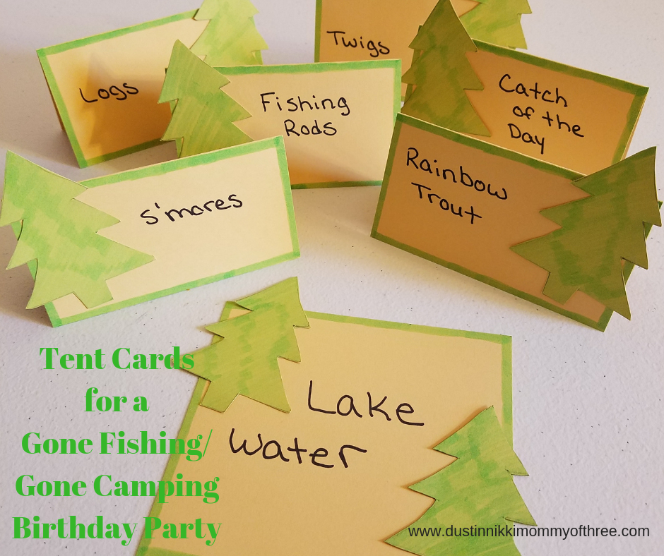 Making Snack Treat Tent Cards For A Gone Fishing Camping Theme Party